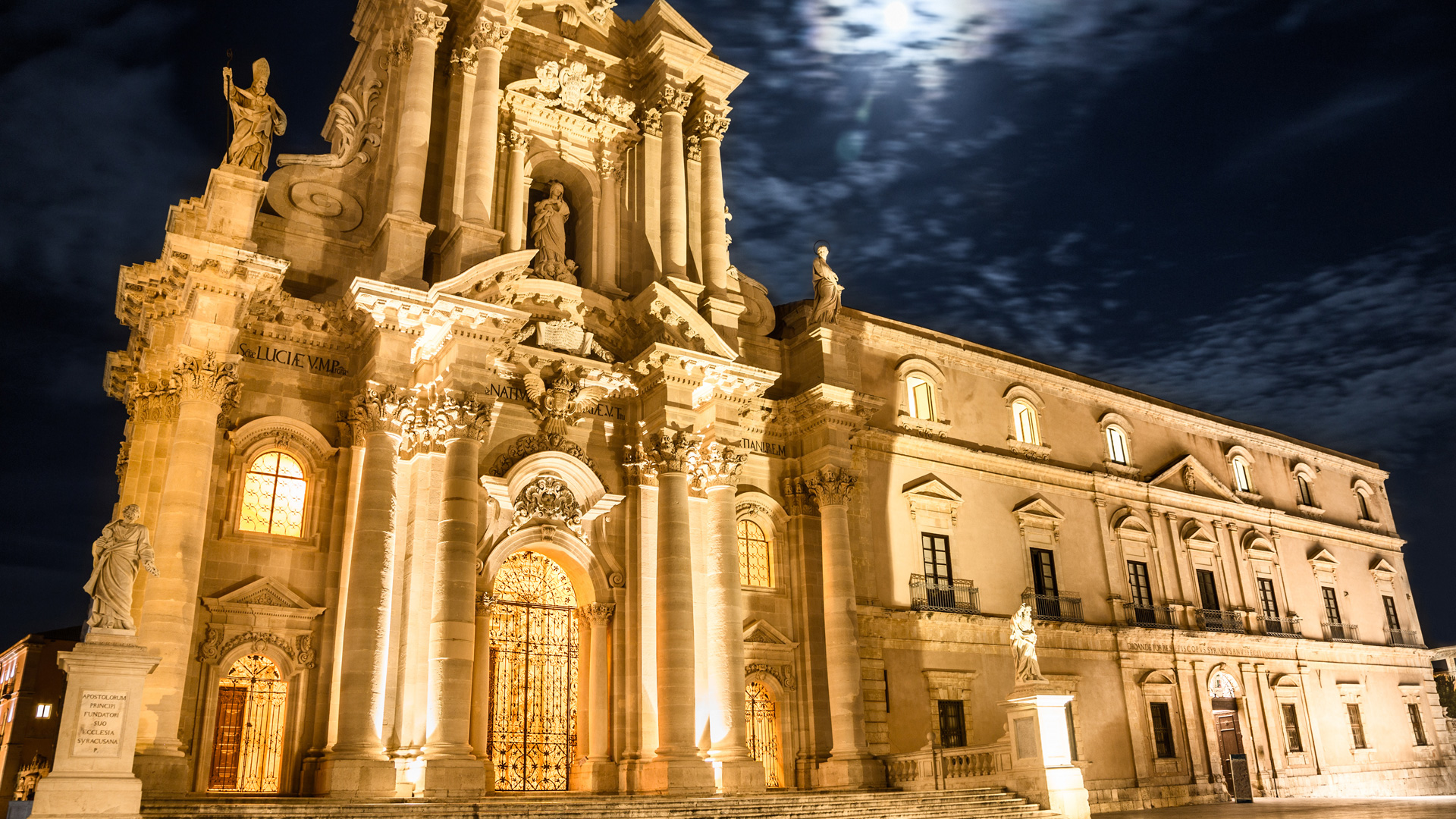 Siracusa Cathedral Sicily Night